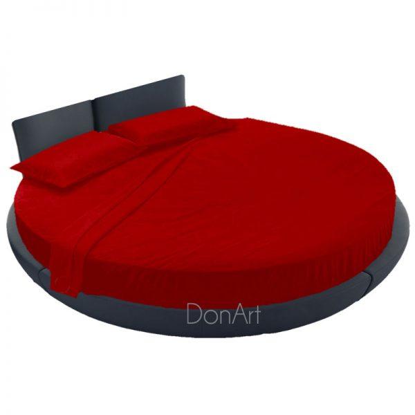 lenzuola per letto rotondo rosso ambientato