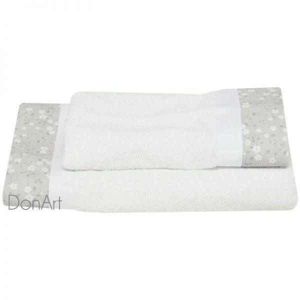 coppia asciugamani fleur bianco