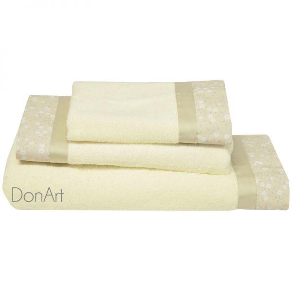 set tre pezzi asciugamani fleur panna
