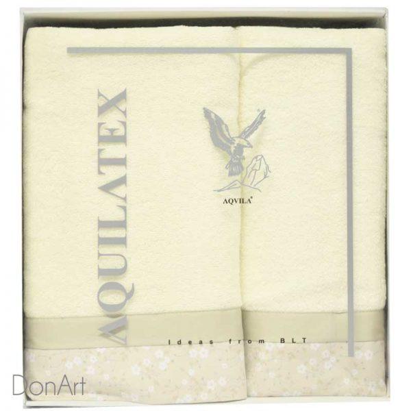 set tre pezzi asciugamani fleur panna scatola