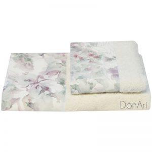 coppia asciugamani per bagno anemone bianco