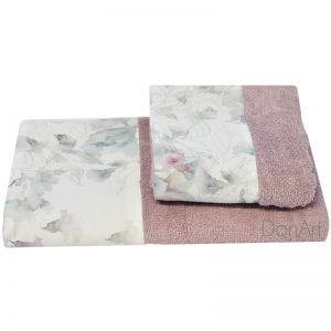 coppia asciugamani per bagno anemone rosa