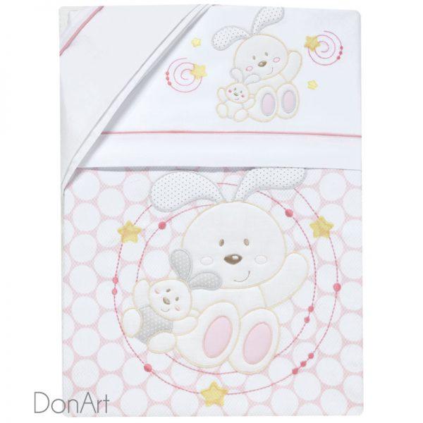 completo lenzuola e coperta per lettino orsetti rosa