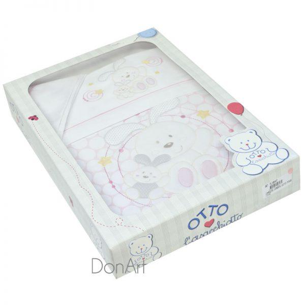 completo lenzuola e coperta per lettino orsetti rosa scatola
