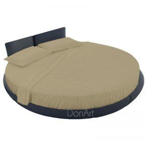 lenzuola per letto rotondo colore corda ambientato
