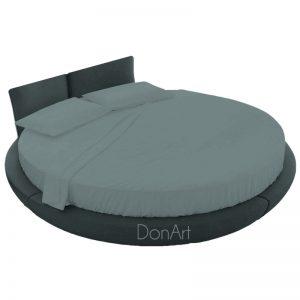 lenzuola per letto rotondo grigio fumo ambientato
