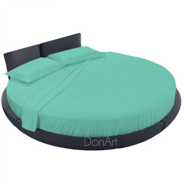 lenzuola per letto rotondo colore tiffany ambientato