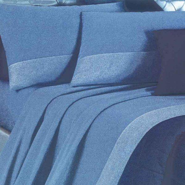 lenzuola una piazza e mezza in flanella class blu ambiente