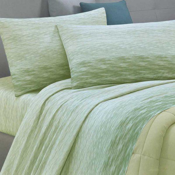 lenzuola singole in flanella acqua verde ambientato