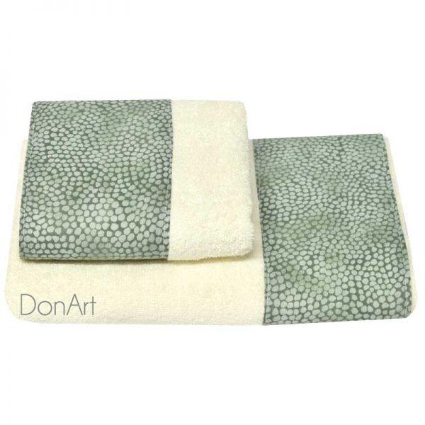 Coppia di asciugamani sassi verde