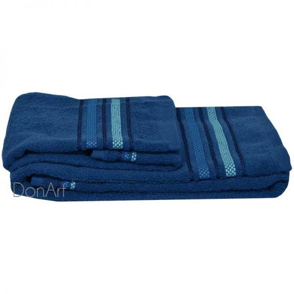 Coppia asciugamani bagno zucchi railway blu