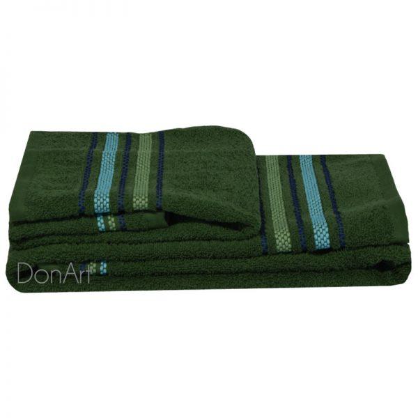 Coppia asciugamani bagno zucchi railway verde