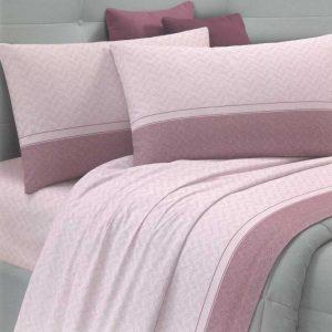 Lenzuola matrimoniali girella rosa ambientato