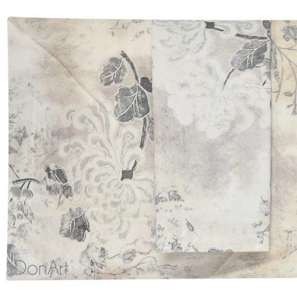 Lenzuola matrimoniali les fleures 6384 grigio federe