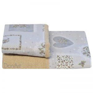 Coppia asciugamani cuori patchwork