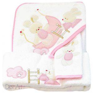 Set tre pezzi neonato coniglietto rosa